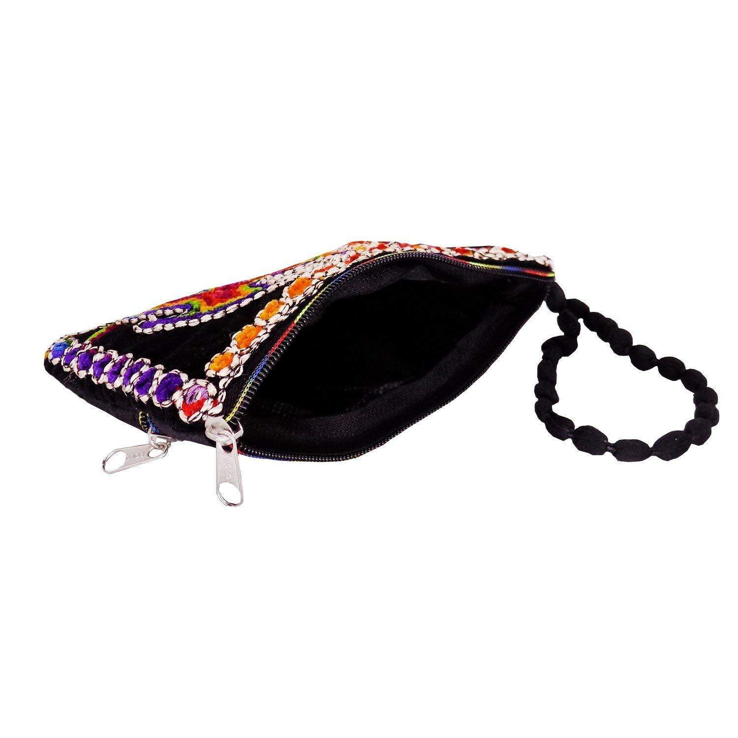 Ethnic Raw Silk Mobile Pouch Waist Clip (Black) - Bagaholics Gift