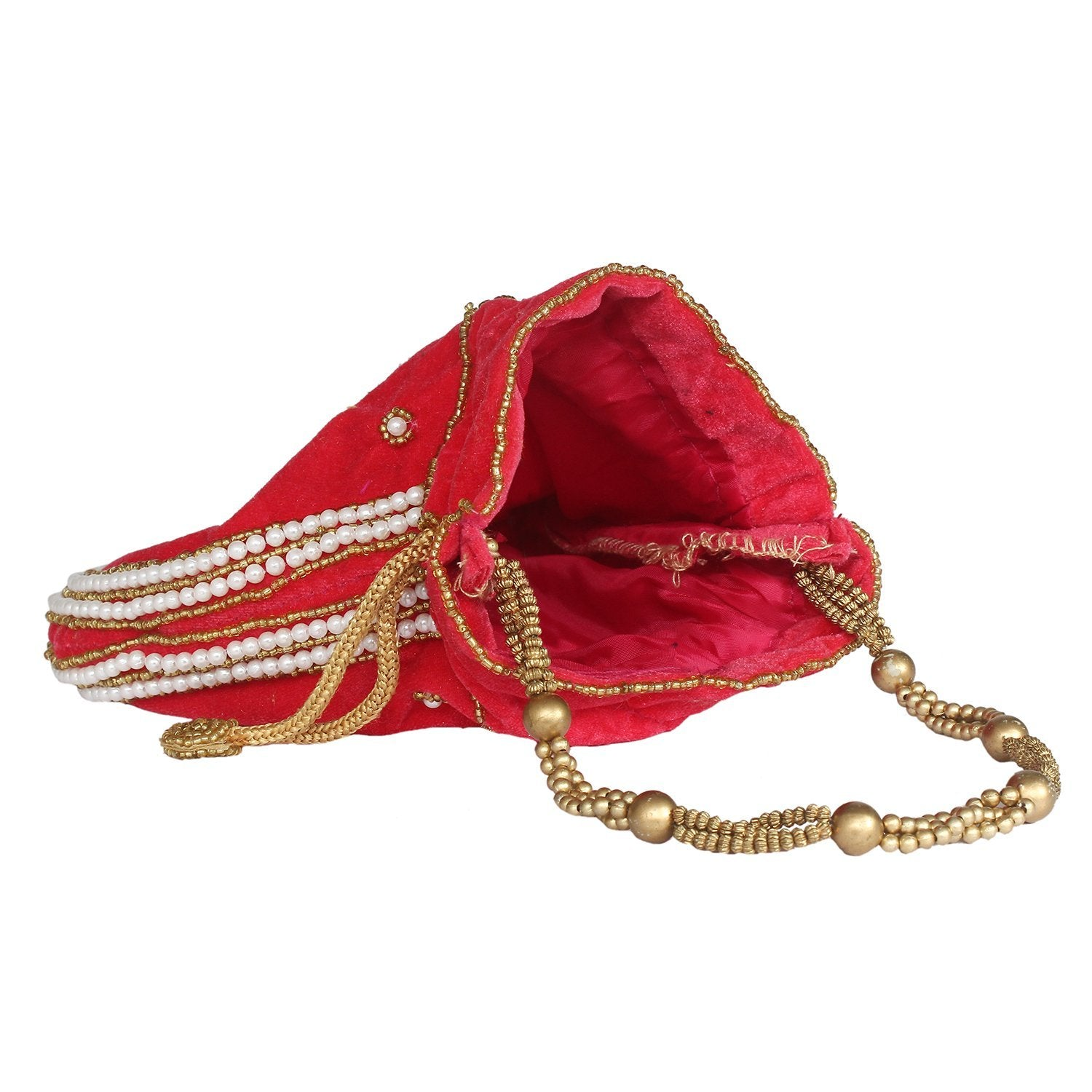 Ethnic Beads and Pearls Velvet Potli Bag Batwa Pouch - Bagaholics Gift