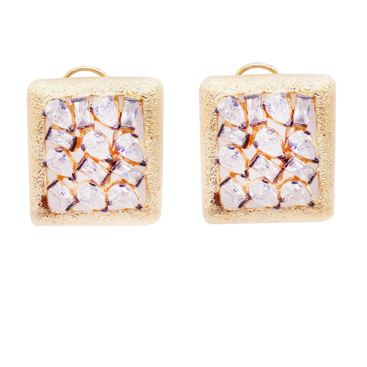 Gold Plated Square Shaped Diamond Stud Earrings - Bagaholics Gift