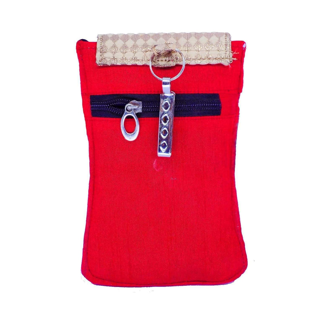 Ethnic Raw Silk Waist Clip Mobile Pouch (Red) - Bagaholics Gift