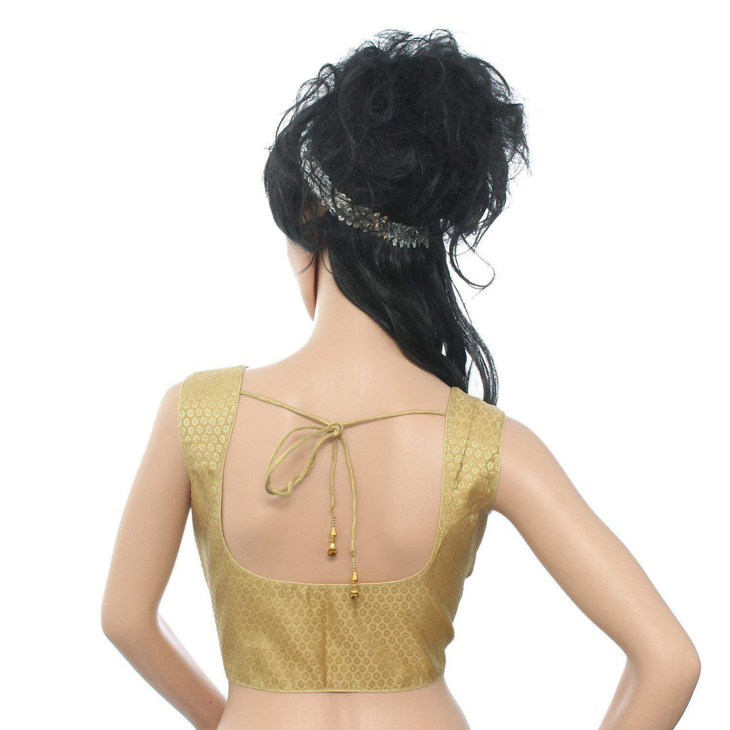 Readymade Designer Sleeveless Saree Blouse For Women's Gold - Bagaholics Gift