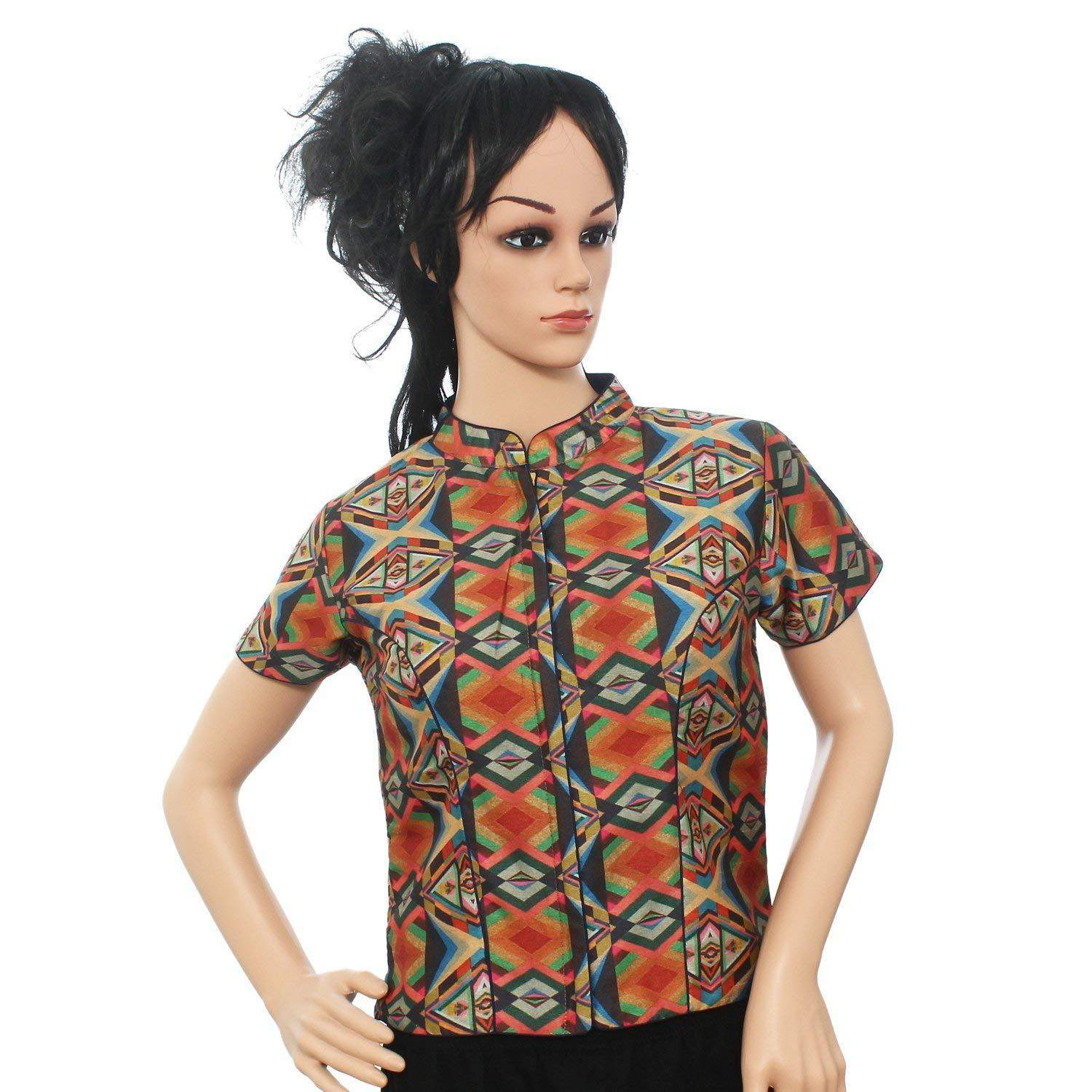 Readymade Printed Padded Designer Saree Blouse (Multi color) - Bagaholics Gift