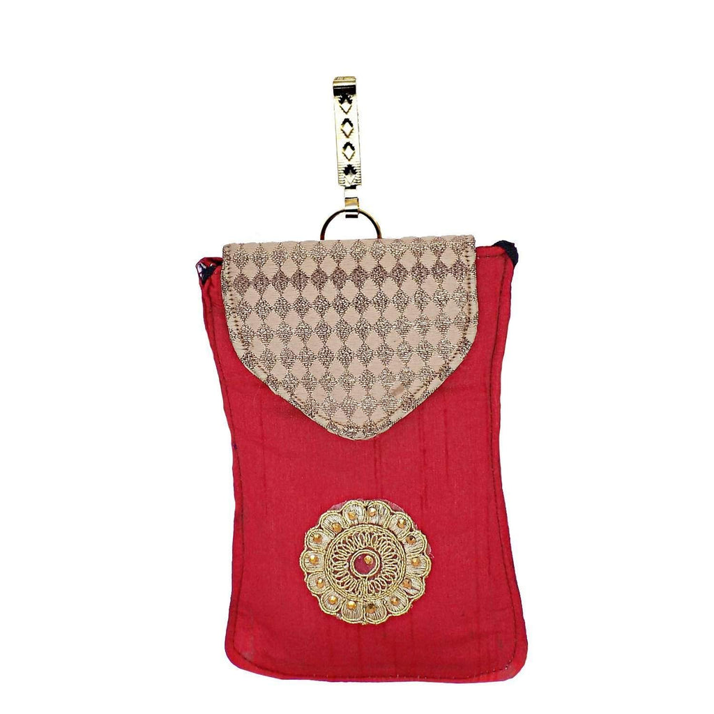 Ethnic Raw Silk Waist Clip Mobile Pouch (Peach) - Bagaholics Gift