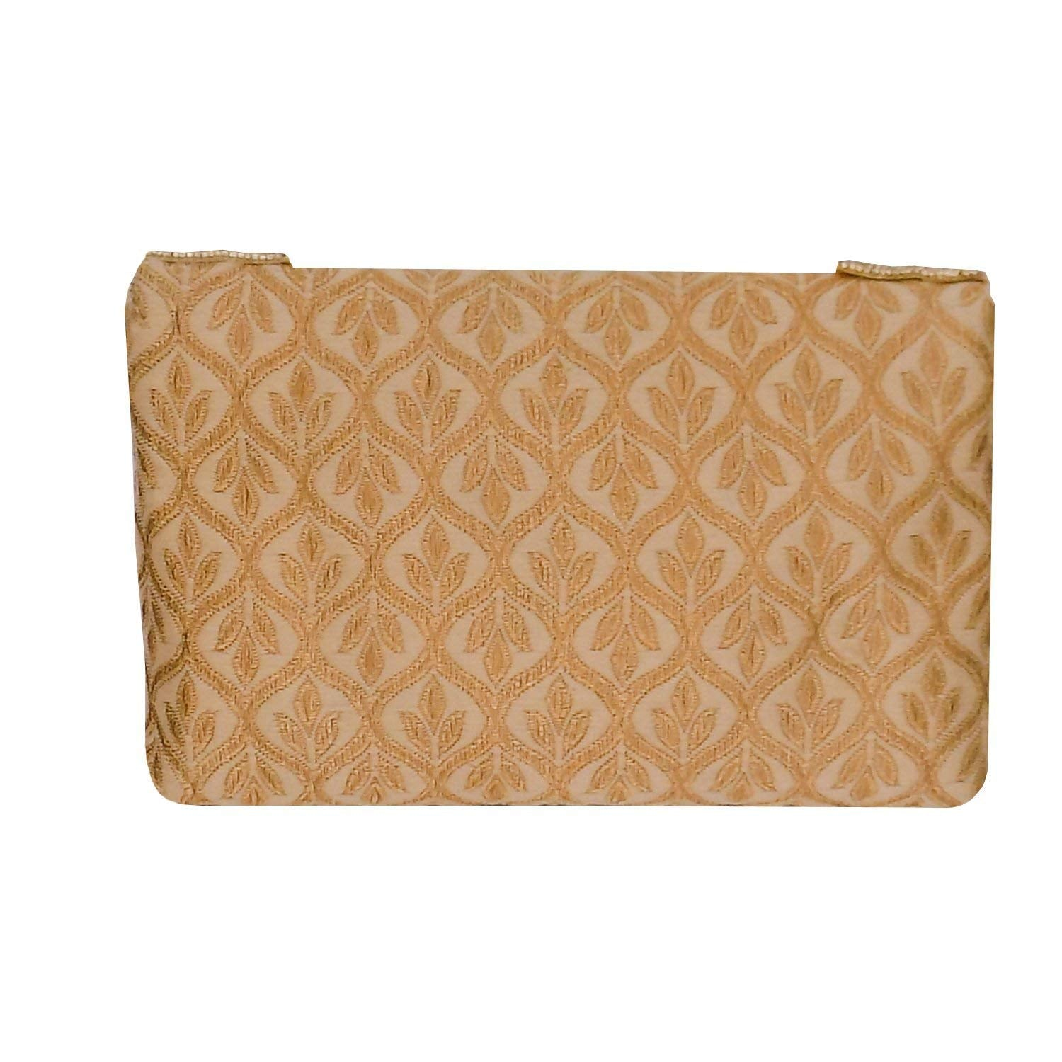 Ethnic Beads and Pearls Silk Clutch (Gold) - Bagaholics Gift