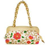 Ethnic Raw Silk Clutch with Embroidery work - Bagaholics Gift
