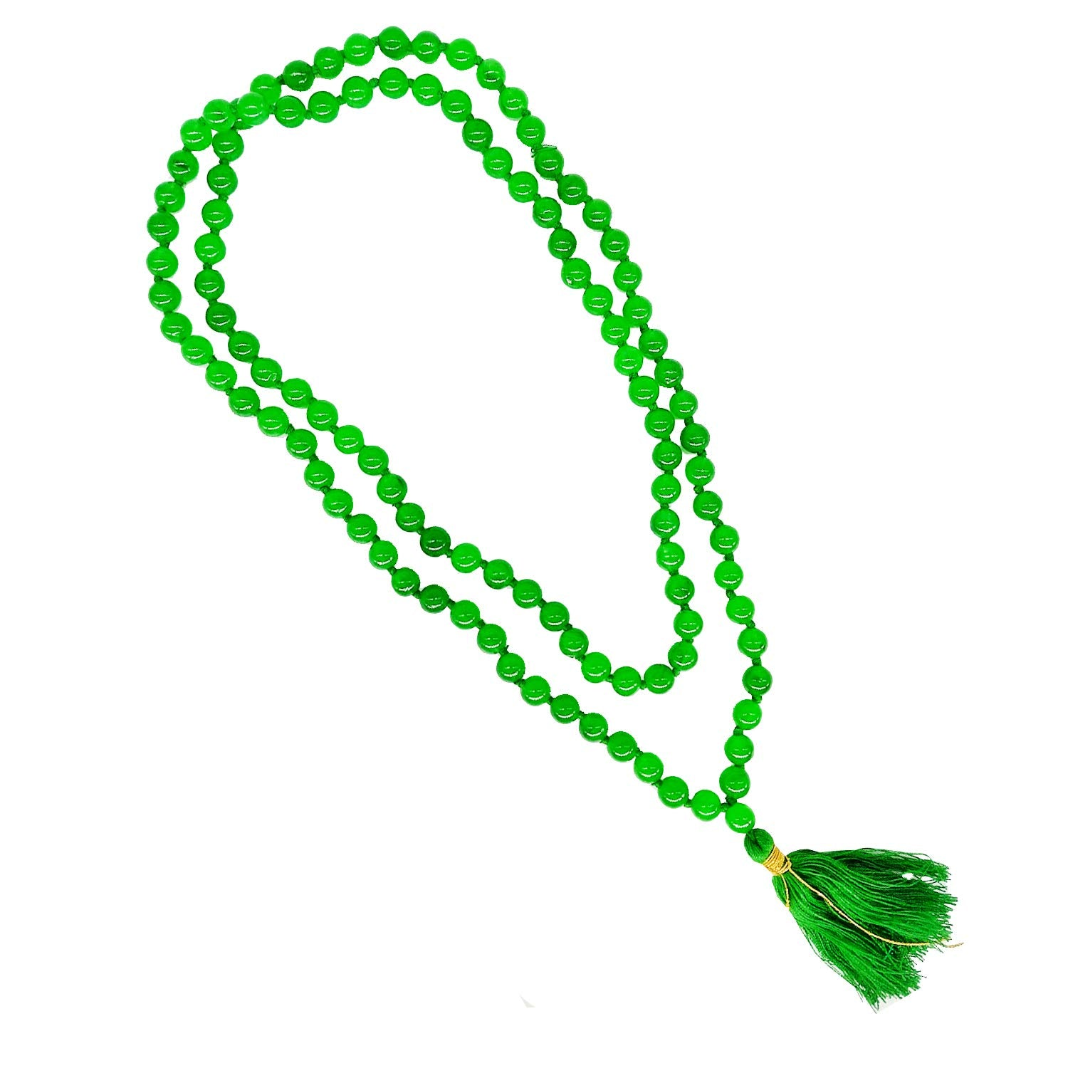 Natural Stones Emerald Green Sphatik Crystal Beads Mala with 108+1 Beads - Bagaholics Gift