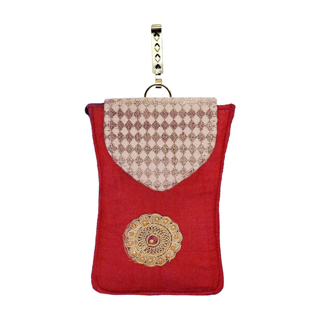 Ethnic Raw Silk Waist Clip Mobile Pouch (Maroon) - Bagaholics Gift