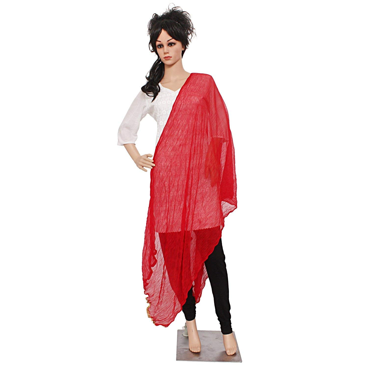 Solid / Plain Women's Dupatta With Golden Lace/Border (Red) - Bagaholics Gift