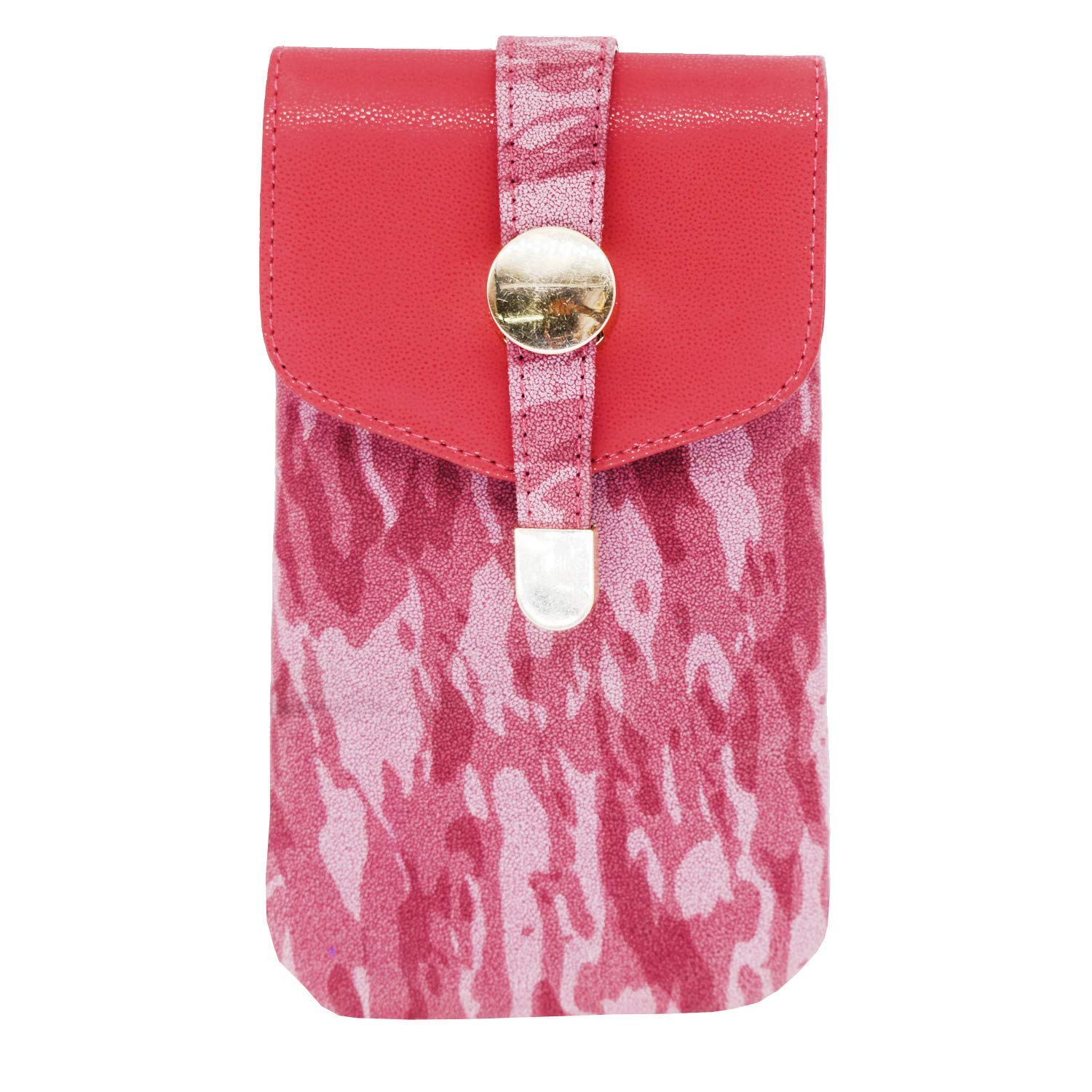 Leather Mobile Pouch with Waist Clip (Red) - Bagaholics Gift
