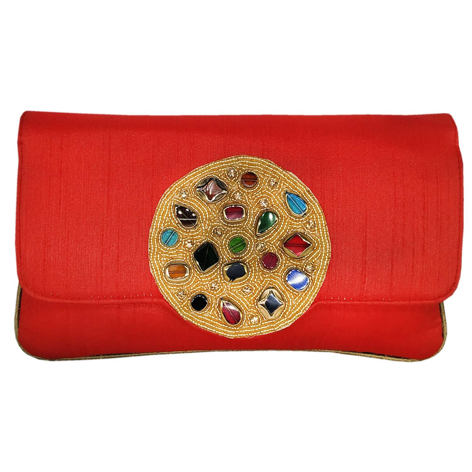Ethnic Beads Pearls Gemstone and Diamond Studded Wedding Clutches - Bagaholics Gift