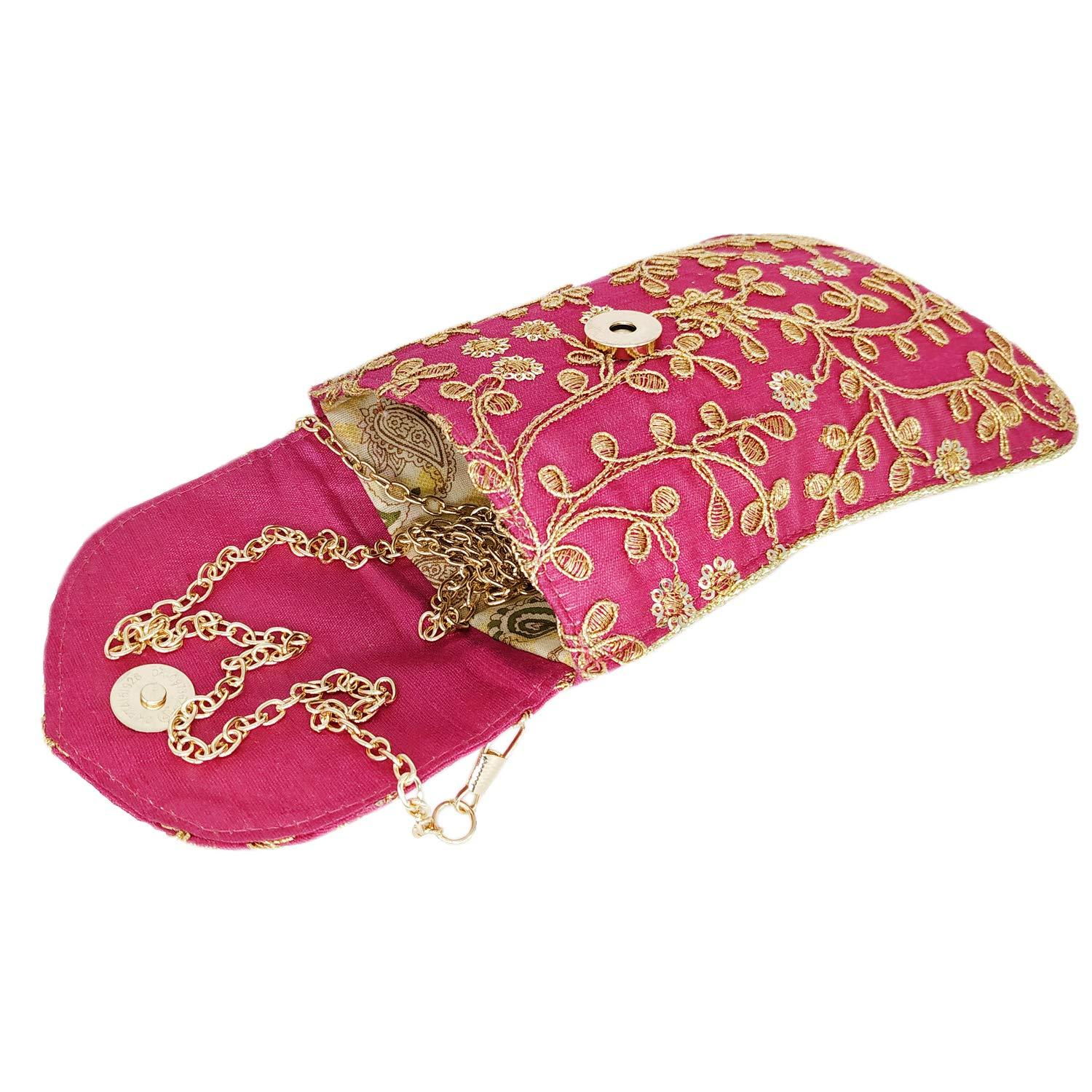 Raw Silk Mobile Pouch with Golden Chain and Waist Clip - Bagaholics Gift