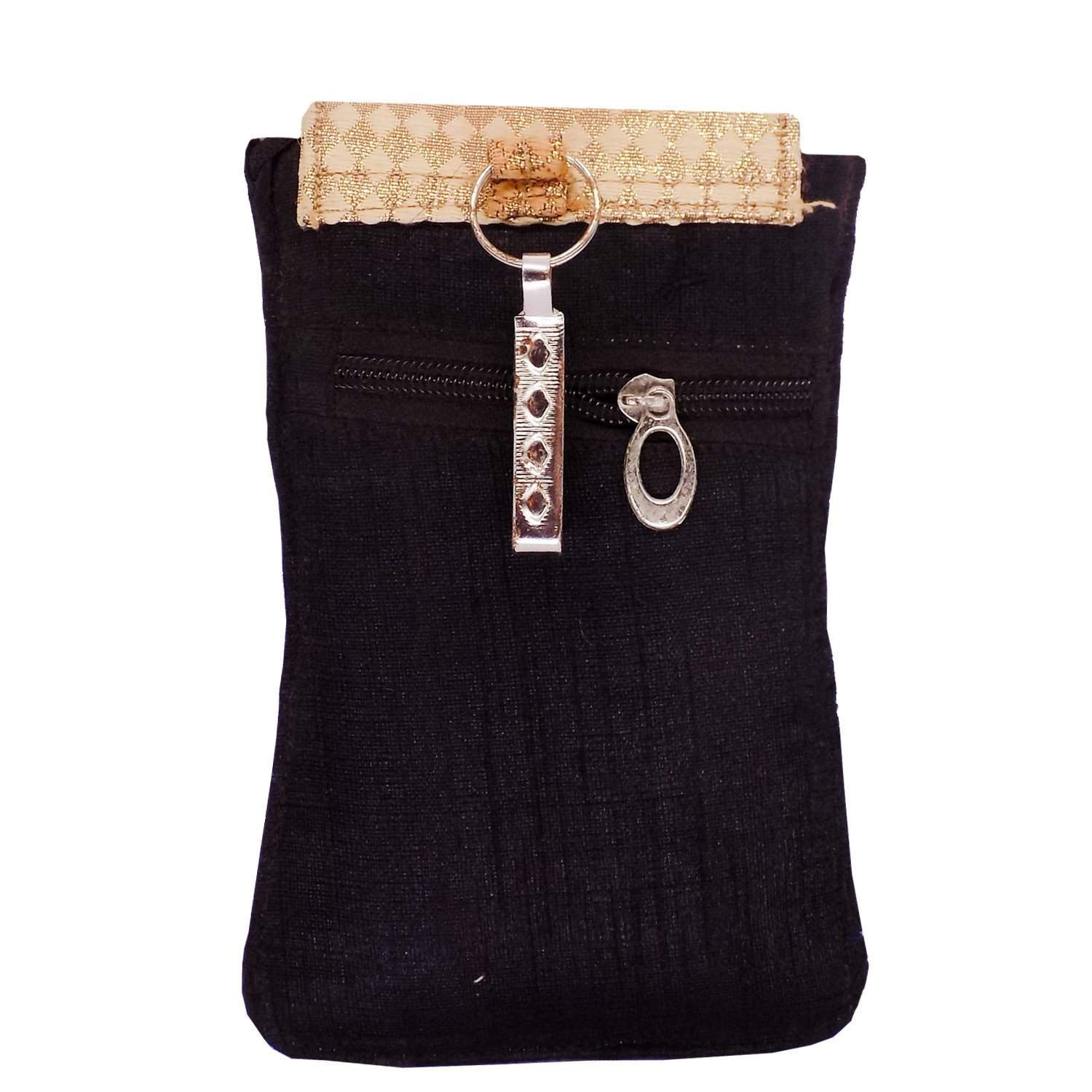 Ethnic Raw Silk Waist Clip Mobile Pouch (Black) - Bagaholics Gift