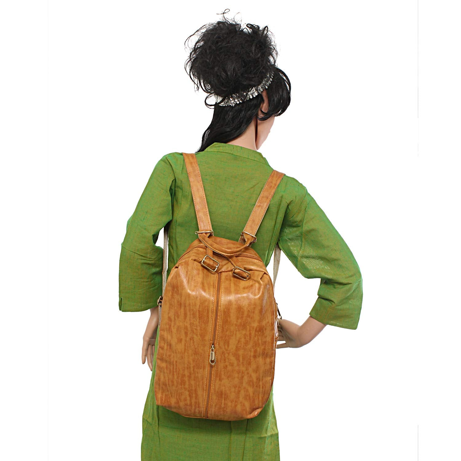 Artificial Leather Student Backpack For Girls (Gold) - Bagaholics Gift