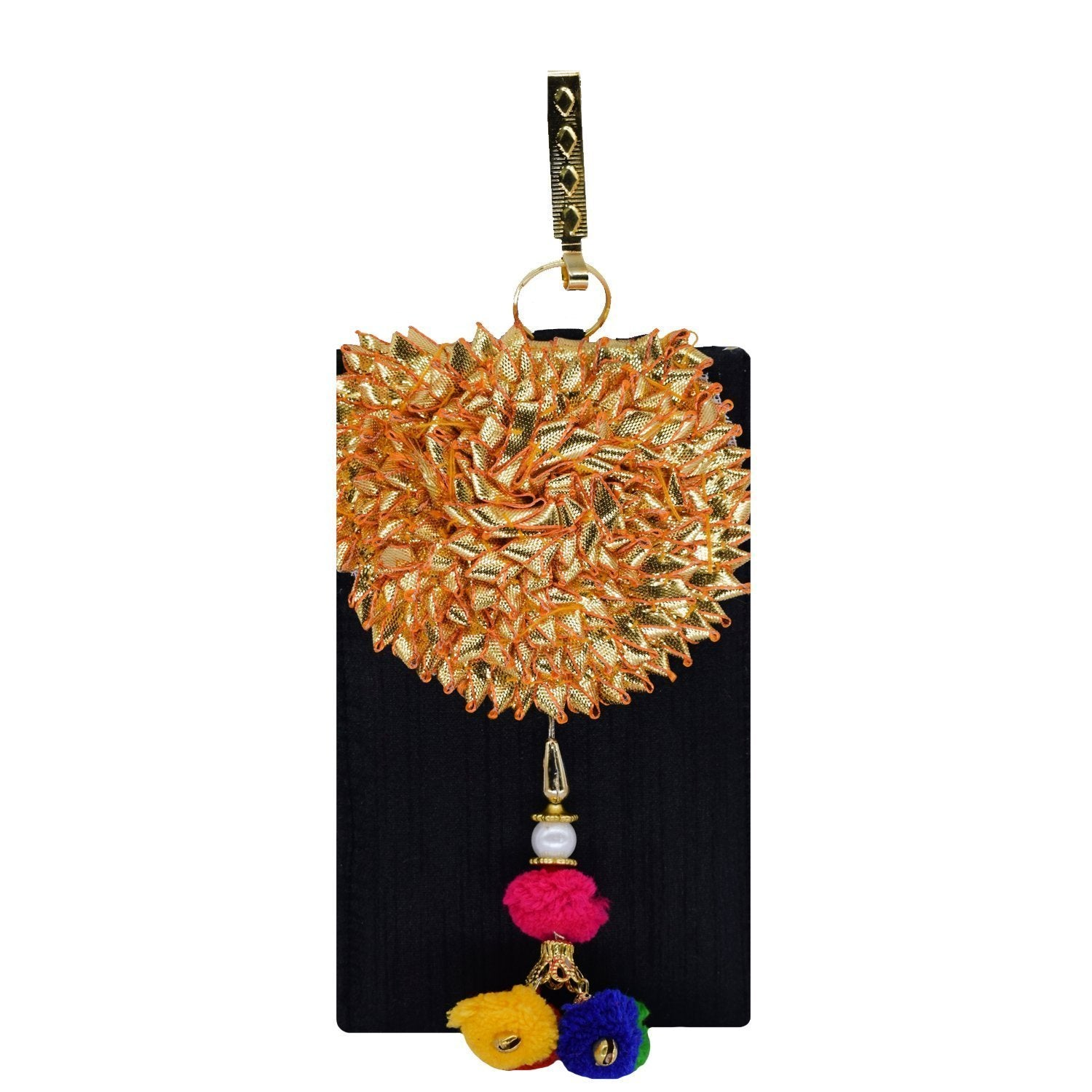 Flower Brooch Mobile Pouch with Multi-Coloured Pom Pom Waist Clip - Bagaholics Gift