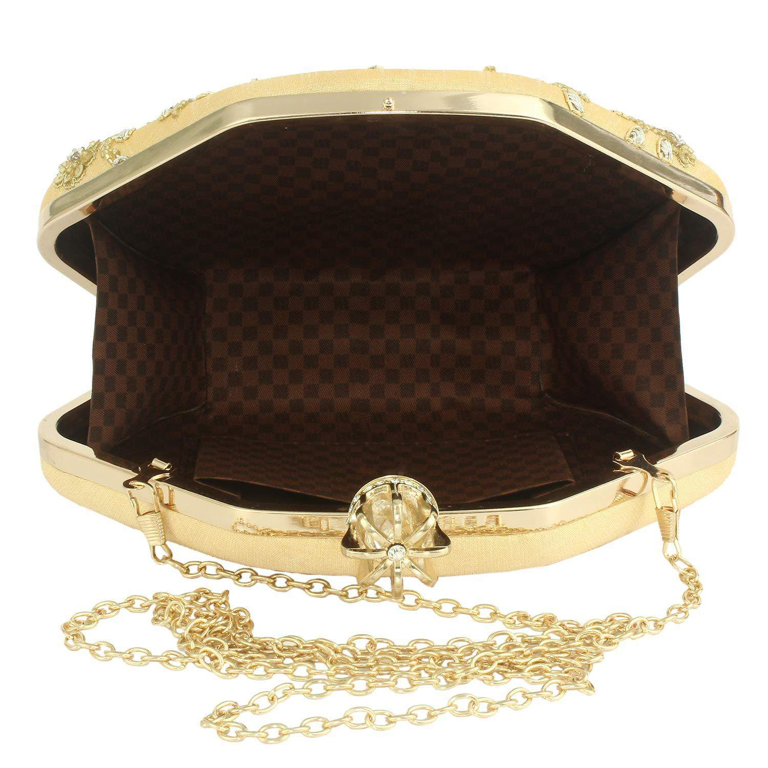 Ethnic Beads and Pearls Clutch (Gold) - Bagaholics Gift