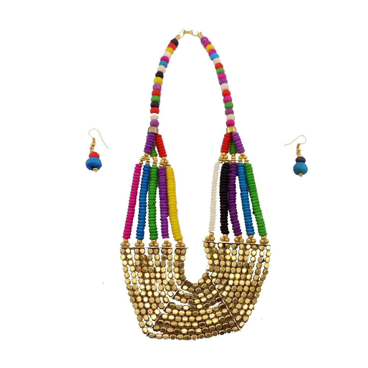 Multicolor Non-Precious Metal Beads Necklace with earrings For Women - Bagaholics Gift