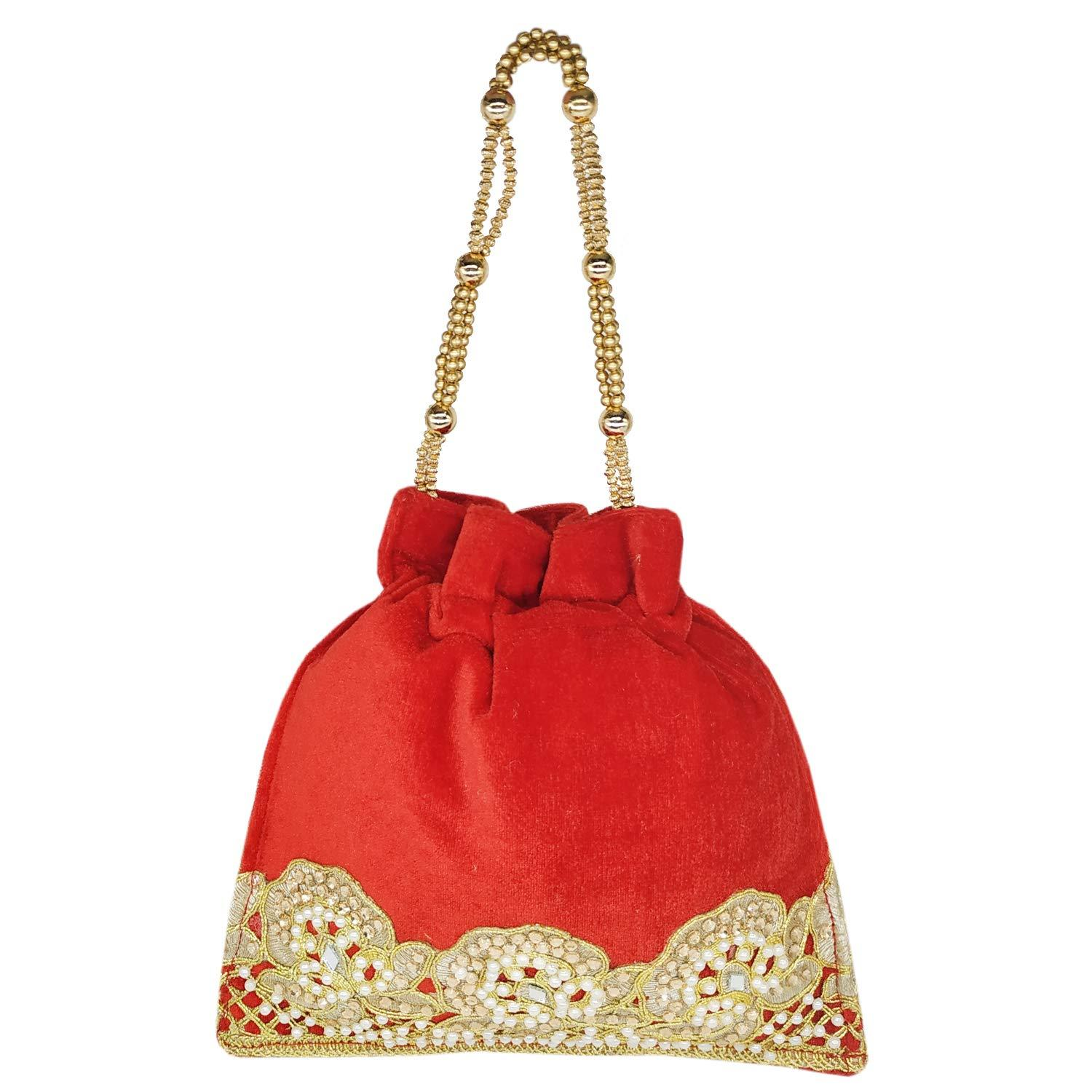 Ethnic Beads and Stylish Stone Raw Silk Potli Bag Batwa Pouch (Red) - Bagaholics Gift