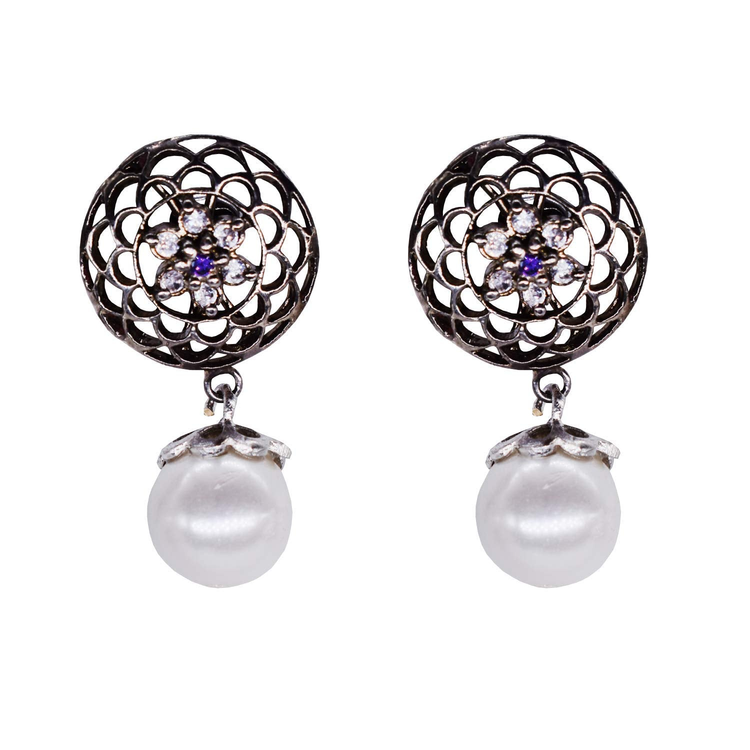 Pearl Stud With Diamond Earrings For Women - Bagaholics Gift