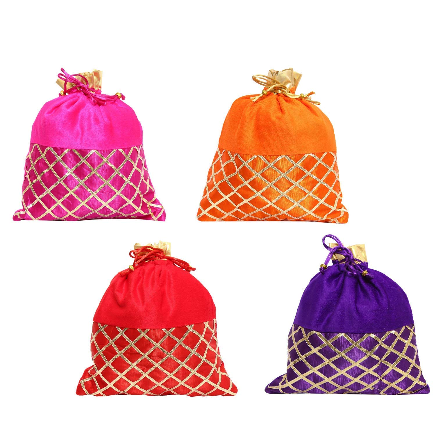 Wedding gift Ethnic Silk Batwa Potli (Pack Of 4) - Bagaholics Gift