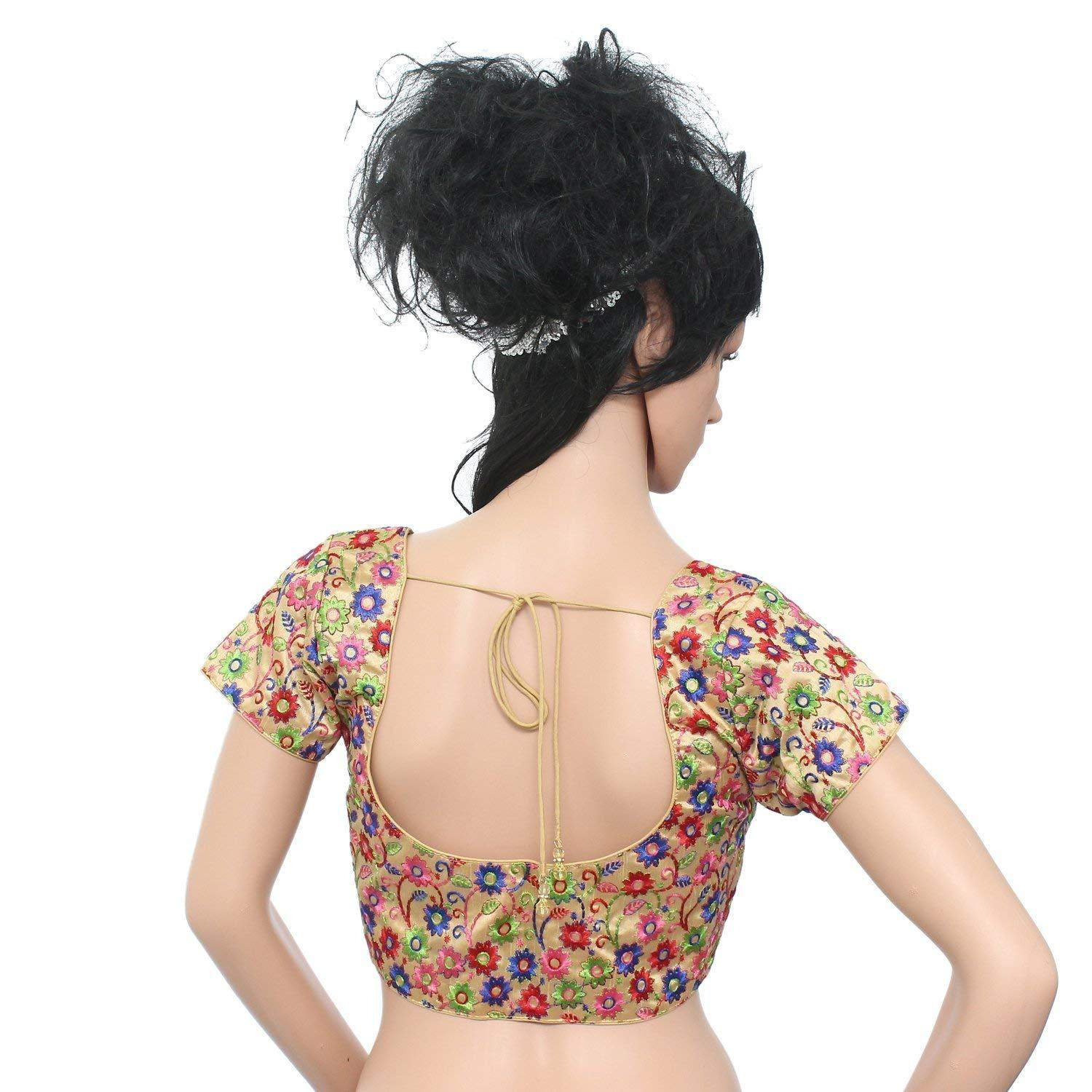 Flower Print Embroidery Readymade Saree Blouse  (Multicolor) - Bagaholics Gift