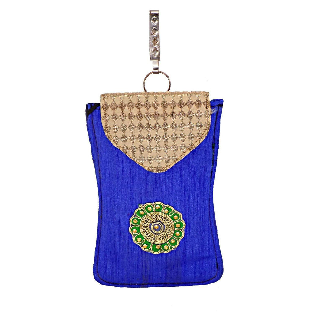 Ethnic Raw Silk Waist Clip Mobile Pouch (Blue) - Bagaholics Gift