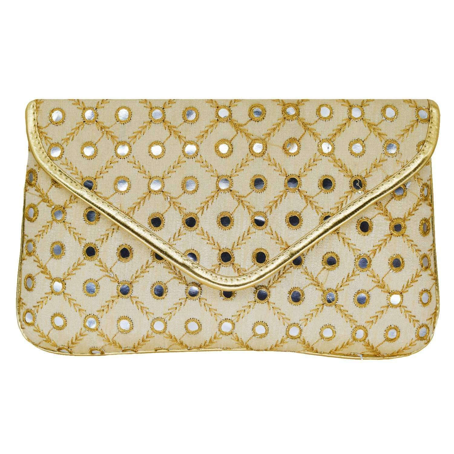 Ethnic Silk Embroidery Clutch (Gold) - Bagaholics Gift