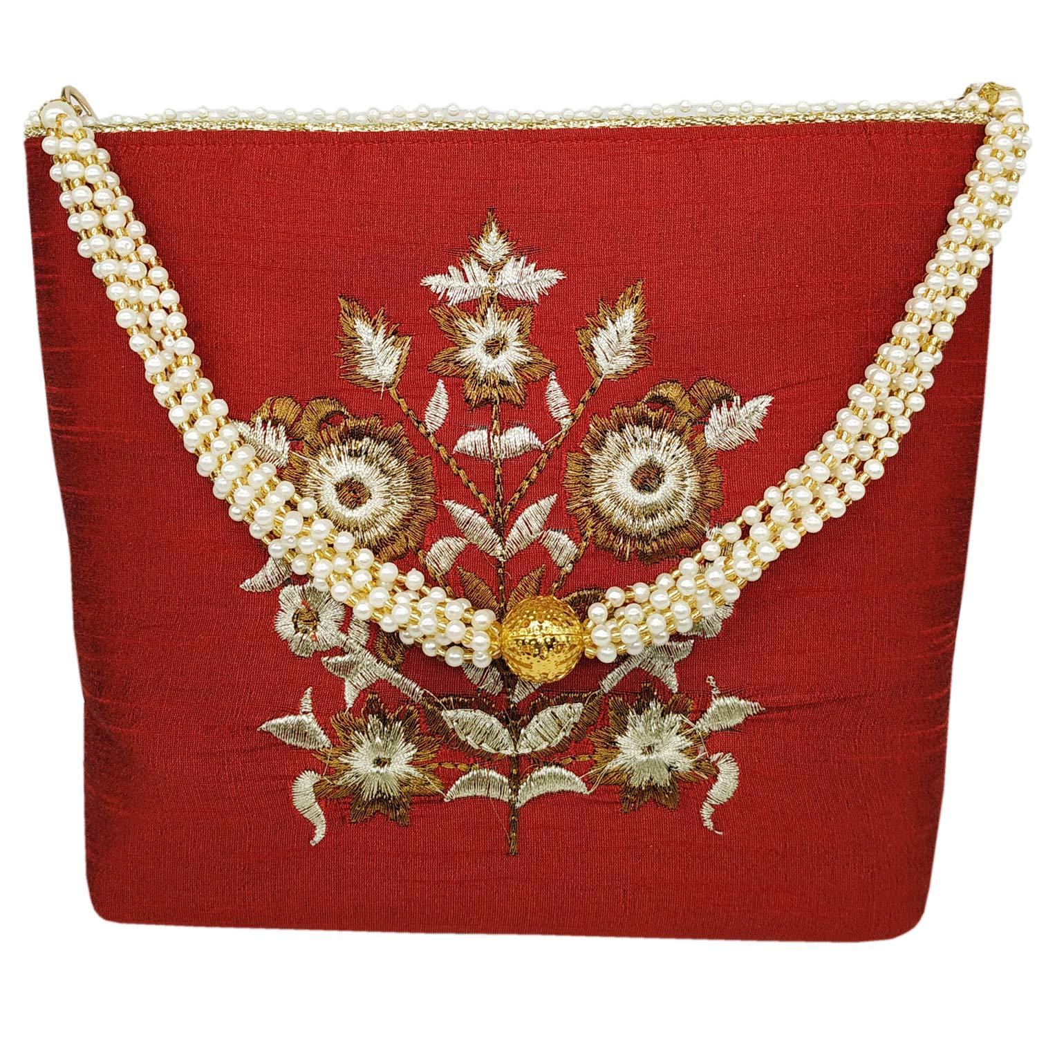 Raw Silk Girls Sling Bag Ethnic Clutch - Bagaholics Gift