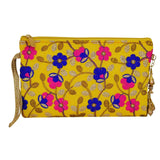 Ethnic Silk Embroidery Work Multipurpose Pouch (Yellow) - Bagaholics Gift
