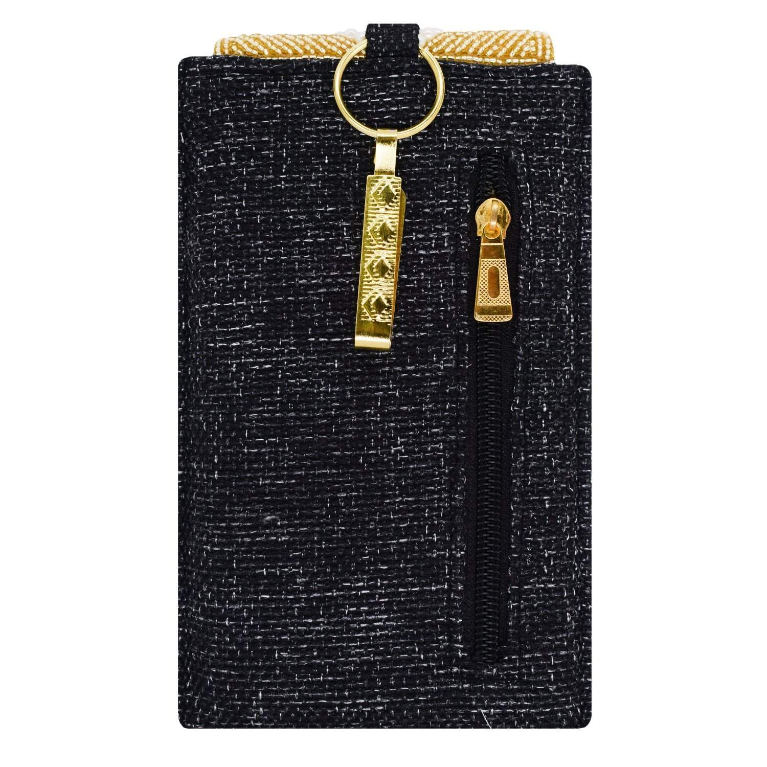 Ethnic Beads & Pearl Jute Mobile Pouch Waist Clip (Black) - Bagaholics Gift
