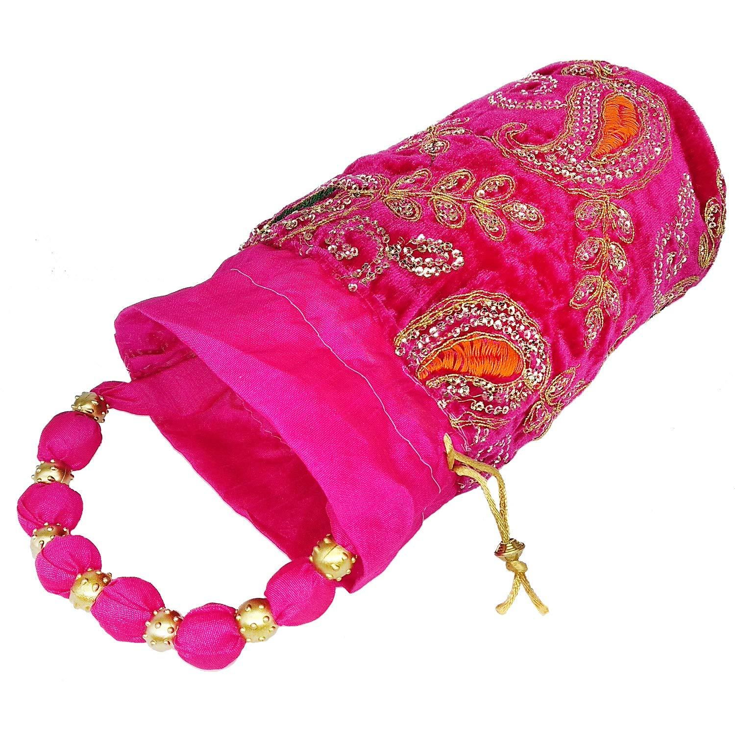 Sequin and Embroidery work Velvet Batwa Potli - Bagaholics Gift