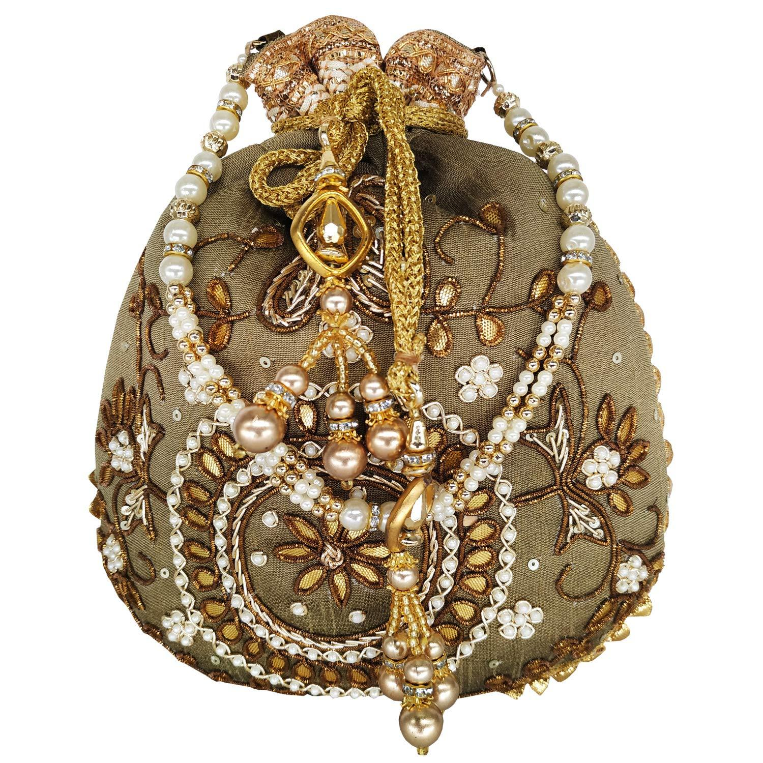 Beads and Pearls Embroidery and Thread work Designer Batwa Potli - Bagaholics Gift