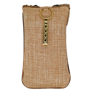 Beads & Stone Jute Diamond Studded Mobile Pouch Waist Clip - Bagaholics Gift
