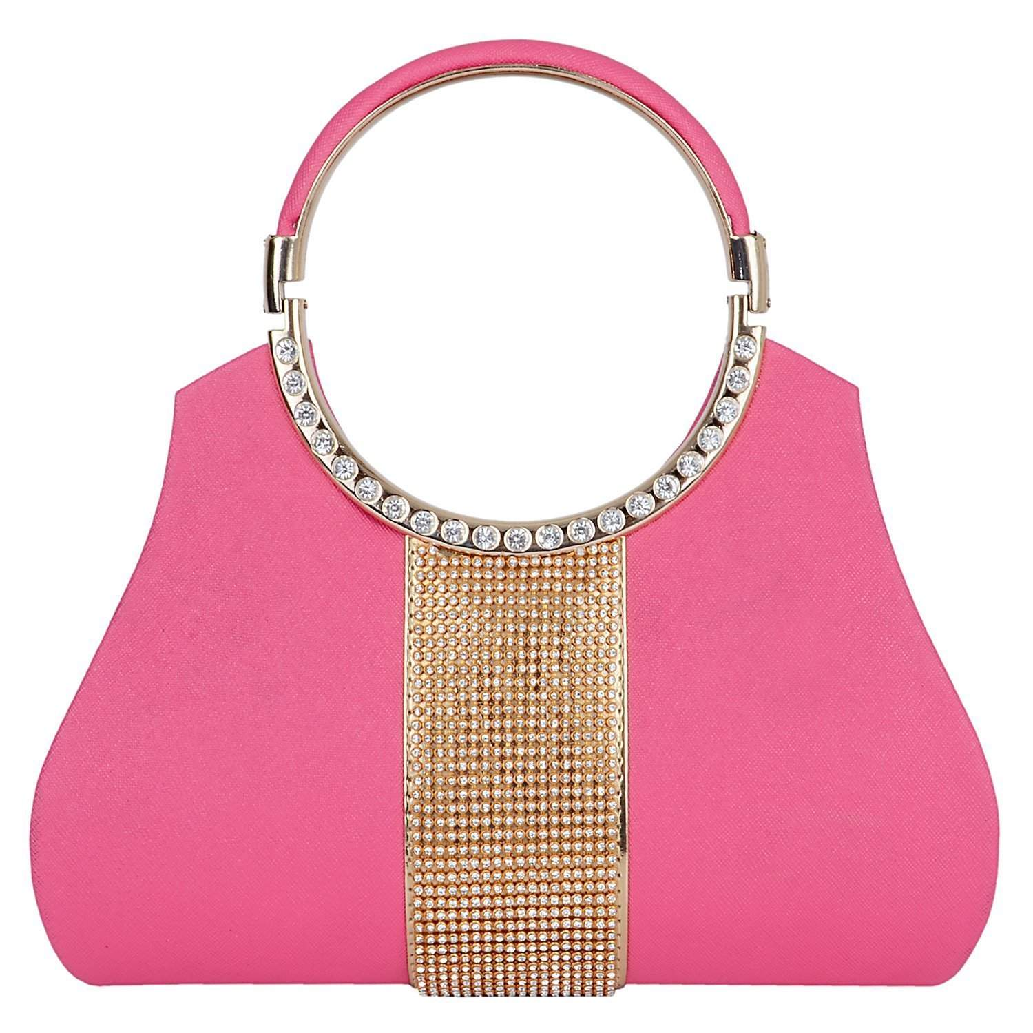 Diamond Studded Party wear Clutch (Pink) - Bagaholics Gift