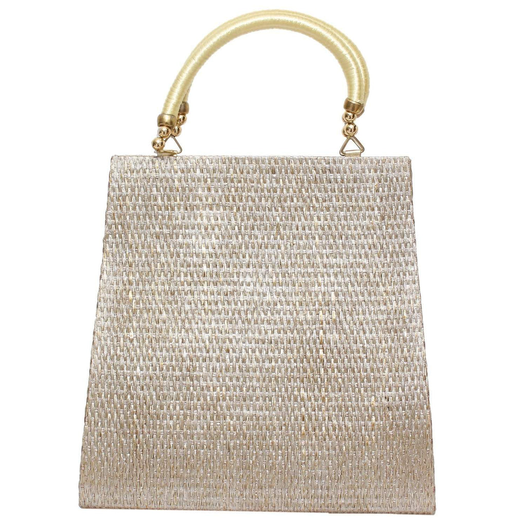 Ethnic Jute Clutch (Gold) - Bagaholics Gift