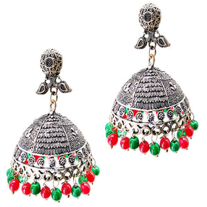 Antique Silver Plated Jhumka Jhumki Earrings - Bagaholics Gift