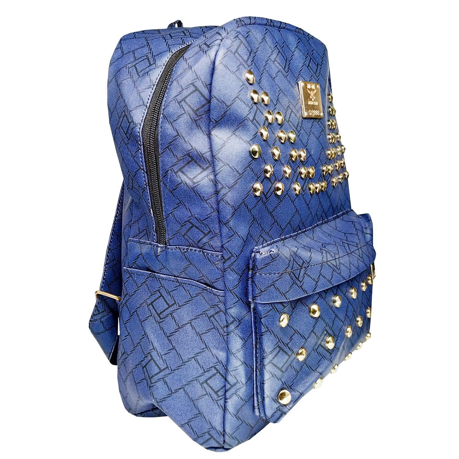 Artificial Leather Student Backpack For Girls  (Blue) - Bagaholics Gift