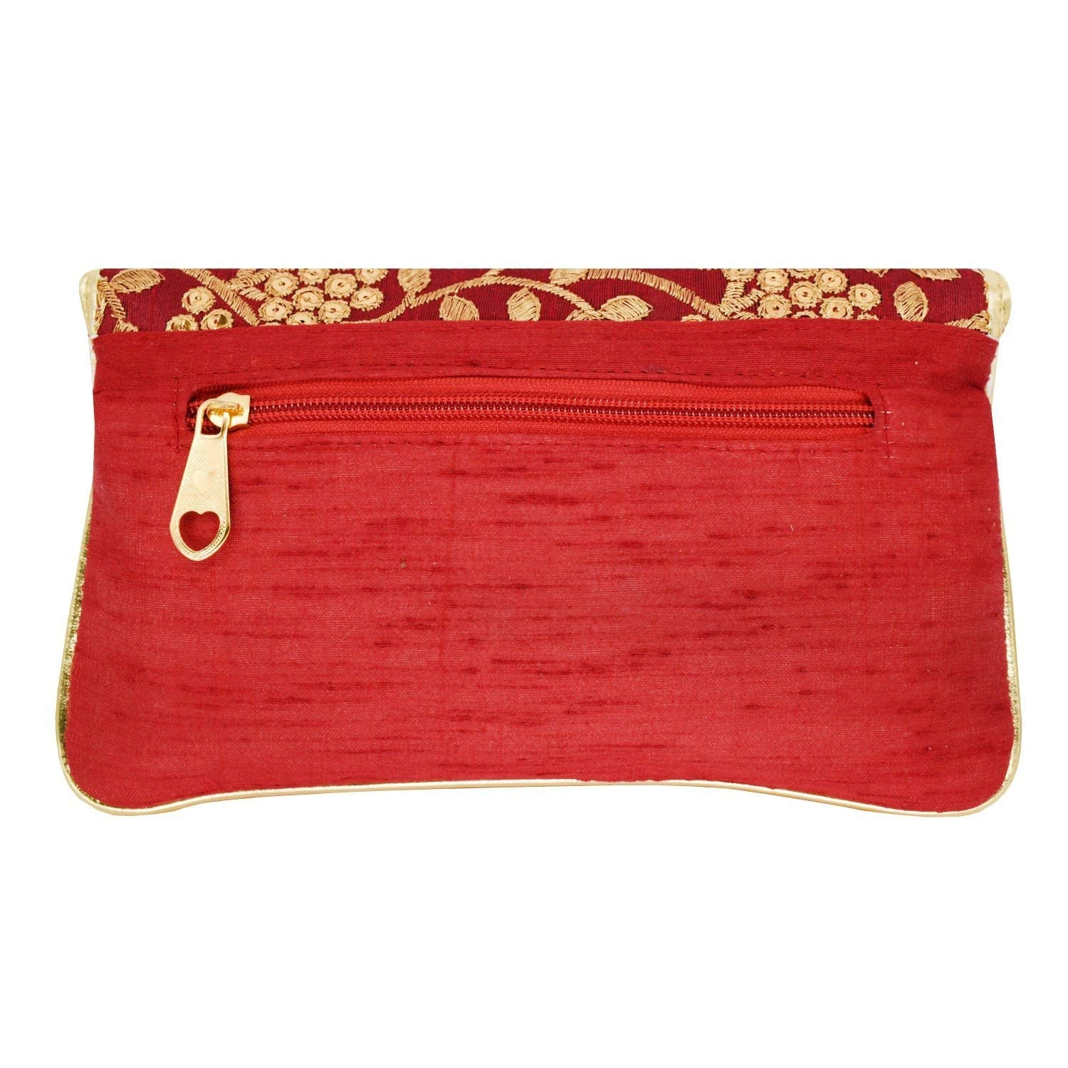 Ethnic Silk Clutch Embroidery Work (Maroon) - Bagaholics Gift