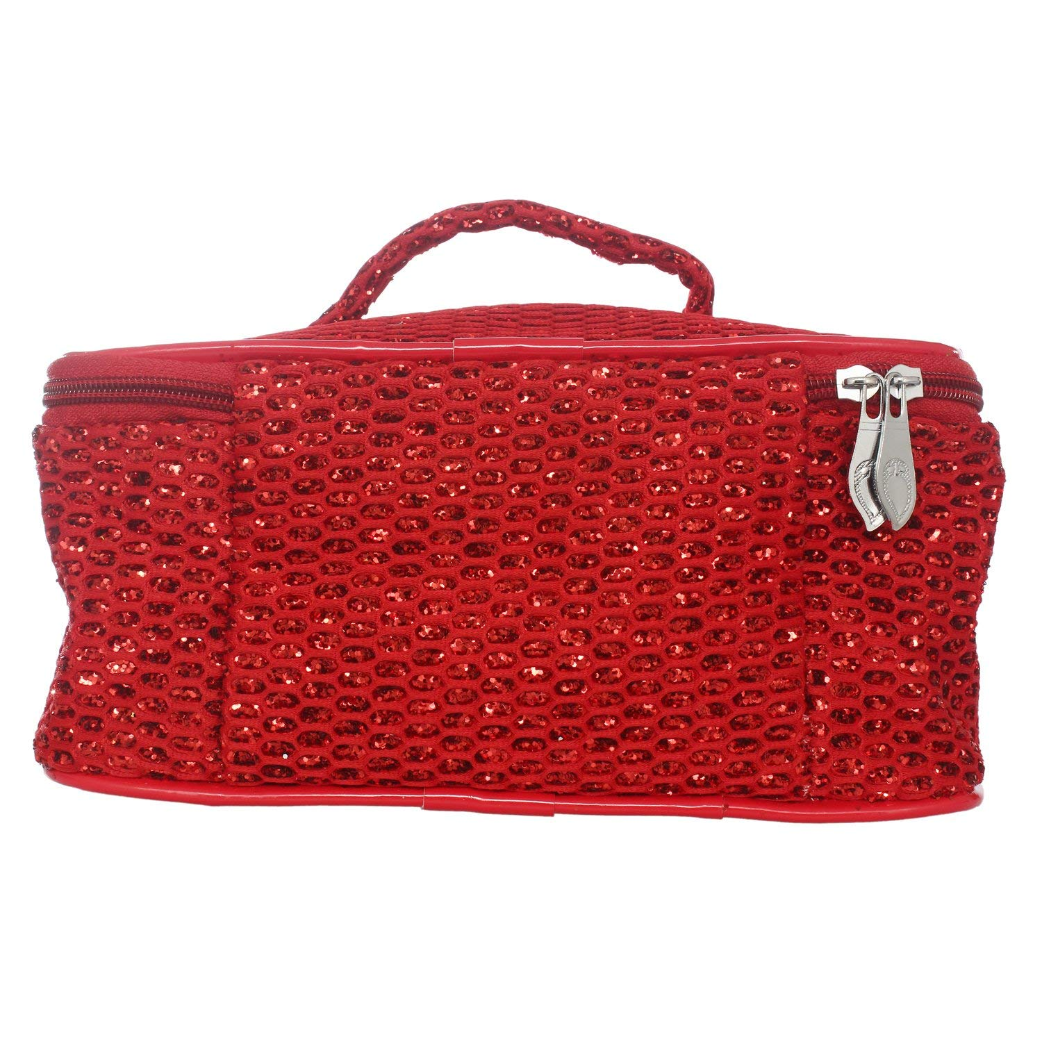 Zari work 1 Zip Multipurpose Makeup Pouch (Red) - Bagaholics Gift