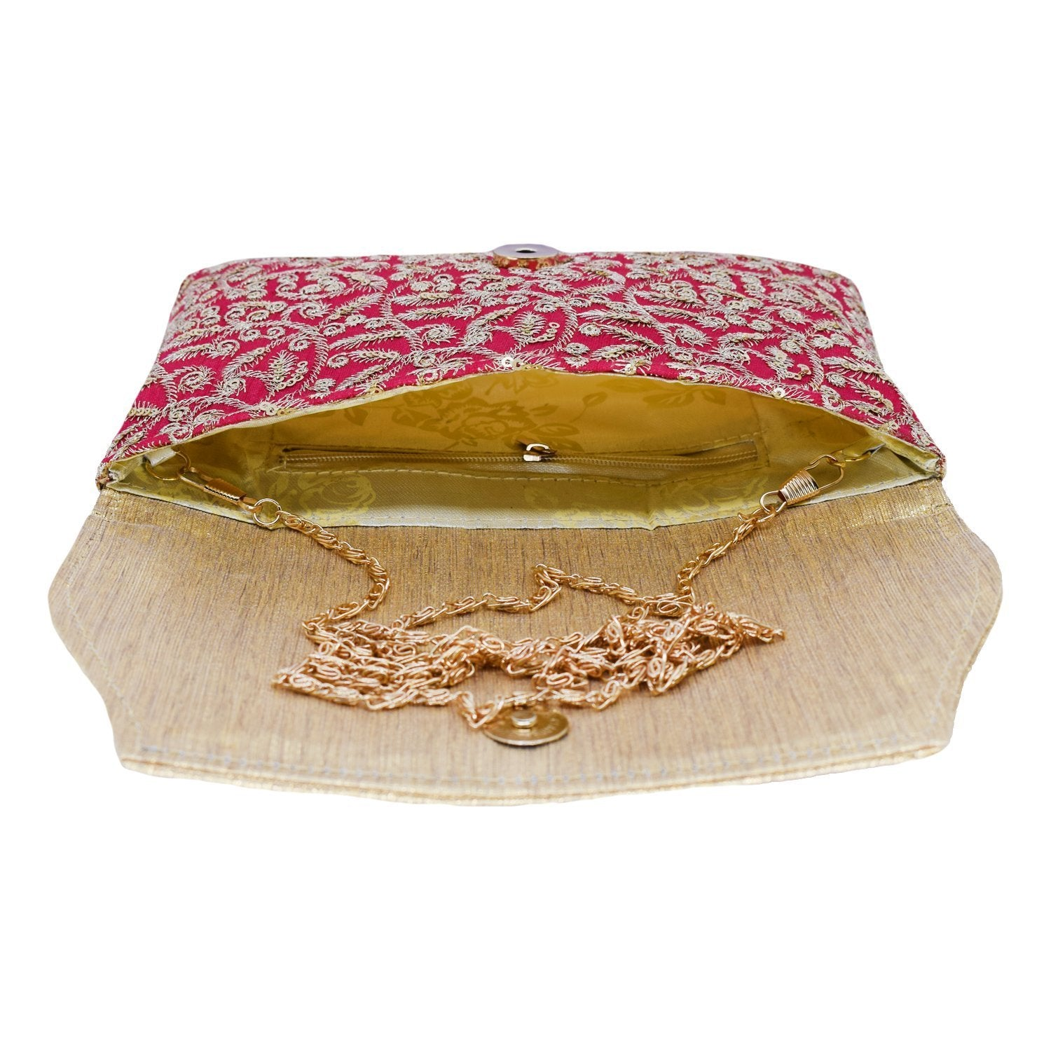Ethnic  Raw Silk  Clutches with Embroidery Work - Bagaholics Gift