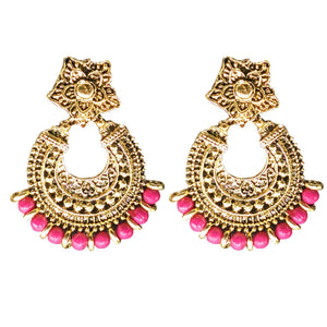 Gold Plated Beads Stud Earring Chandbali Earring