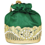 Beads and Pearls Embroidery and Mirror work Potli Batwa - Bagaholics Gift