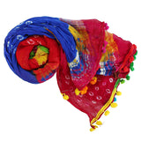 Printed Women's Dupatta With Pom Pom Lace/Border (Multicolor) - Bagaholics Gift