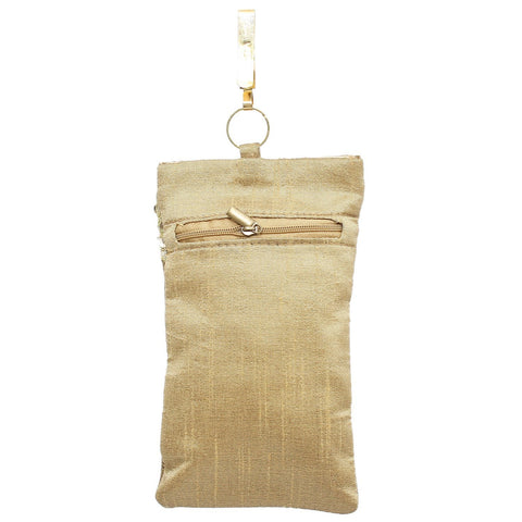 Ethnic Raw Silk Mobile Pouch Waist Clip - Bagaholics Gift