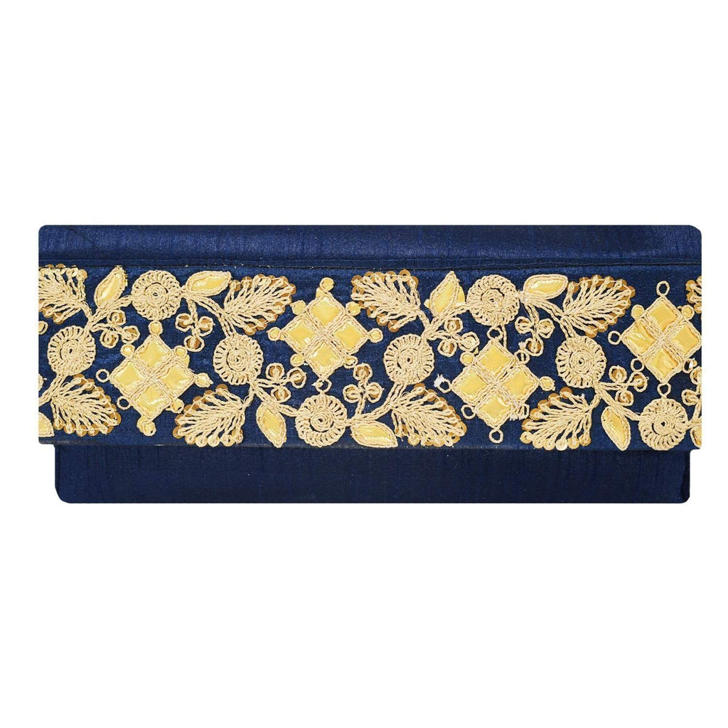 Ethnic Silk Embroidery Work Clutch (Blue) - Bagaholics Gift