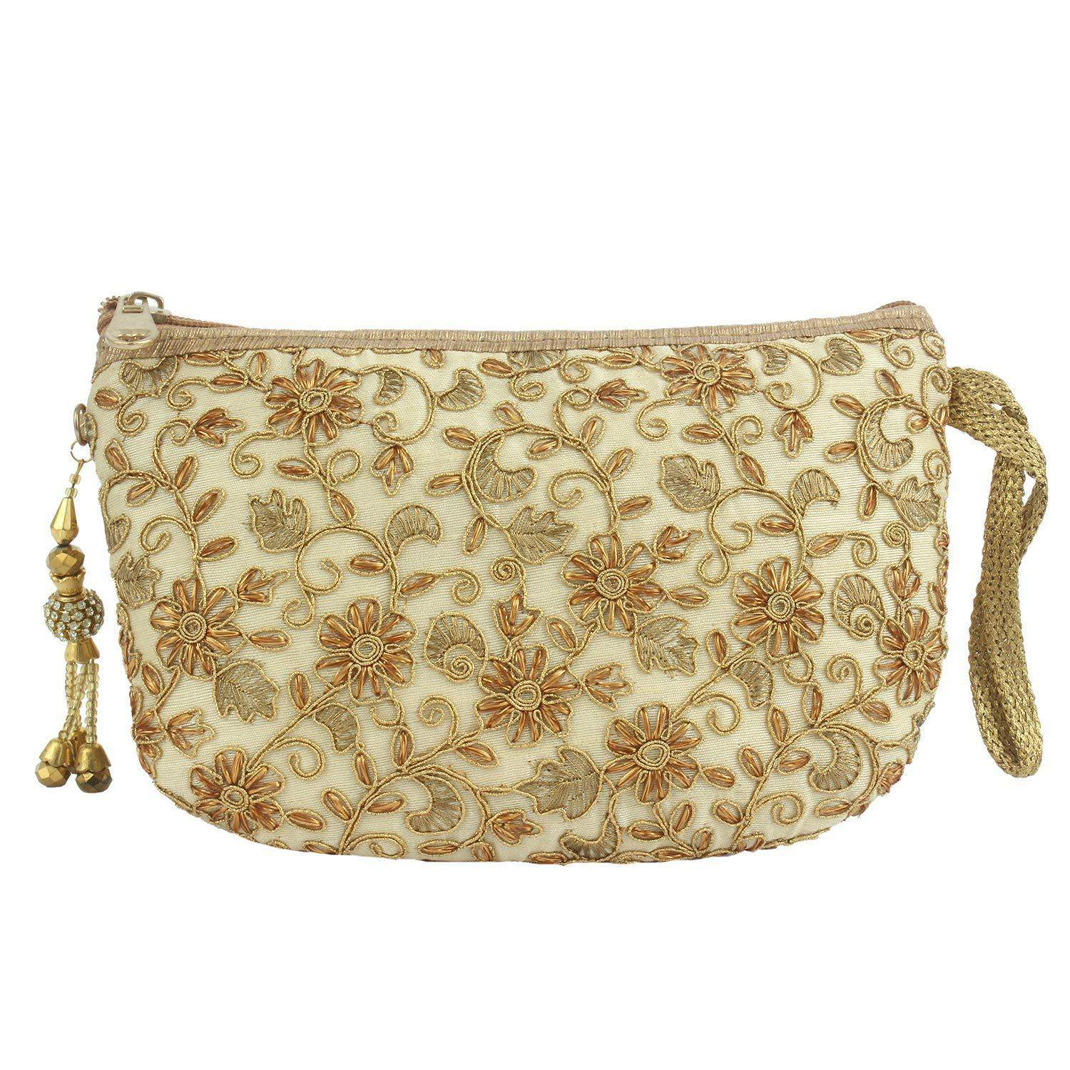 Multipurpose Embroidery Pouch (Gold) - Bagaholics Gift