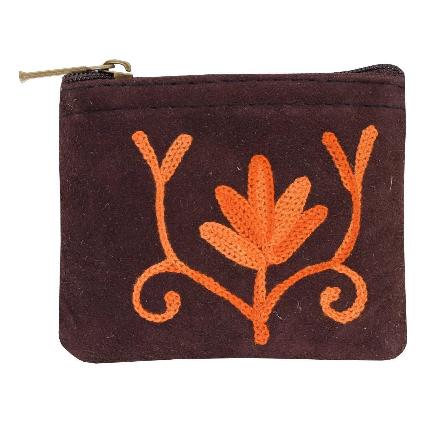 Kashmiri Crewel Embroidery Suede Coin Purse - Bagaholics Gift