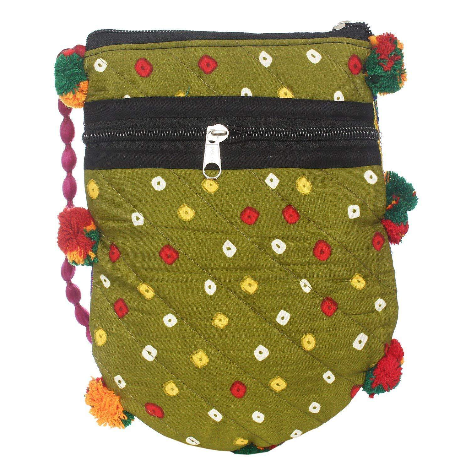 Jaipuri Art Handicraft Traditional Sling Bag (Green) - Bagaholics Gift