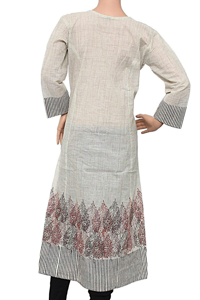 V-Neck Printed Casual Cotton A-line Stitched Kurti for Women's - Bagaholics Gift