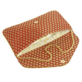 Ethnic Beads and Pearls Silk Clutch (Maroon) - Bagaholics Gift