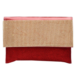Diamond Studded Party wear Clutch (Maroon) - Bagaholics Gift